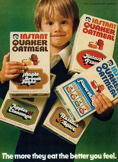 Instant Quaker Oatmeal in four flavors (1972