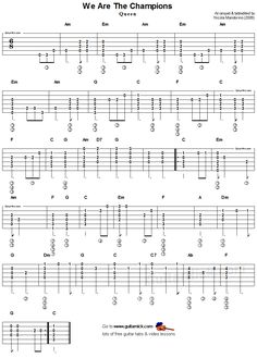 We Are The Champions - flatpickin guitar tab