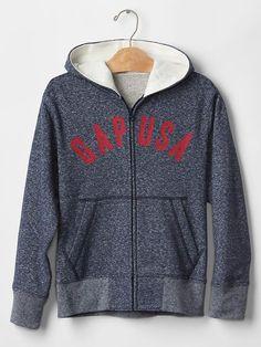 Waffle-lined logo zip hoodie
