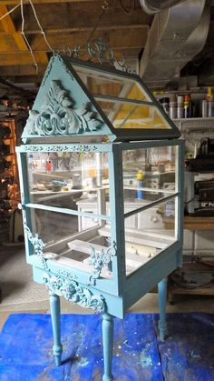 Greenhouse that will hold a Fairy Garden made from old windows