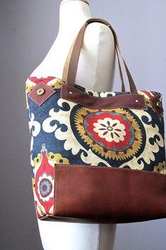 Cotton Leather tote bag - Natural - Eco friendly - Boho bag -   Market tote Bag - 8 pockets by VitalTemptation
