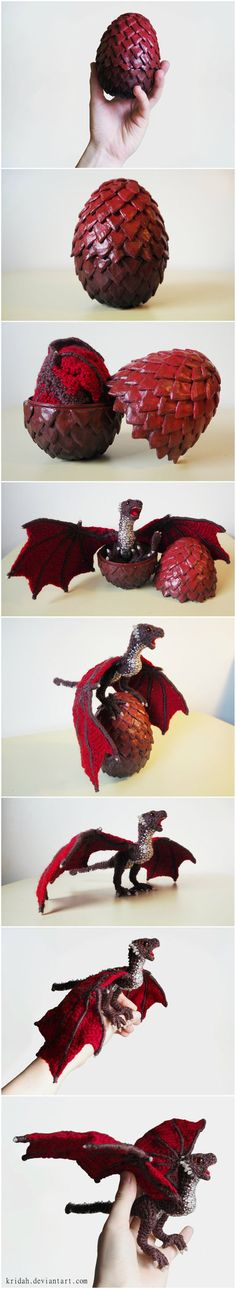 To celebrate that Game of Thrones is finally back, I decided to make a dragon egg and a little baby dragon to go with it! The egg: I bought a two-part plastic egg and added scales to it that ...