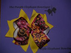 Girls Stacked Hairbow Brown Floral Yellow. by PurpleElephant84, $7.95 The Purple Elephant Bowtique on Etsy