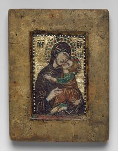 Portable Icon with the Virgin Eleousa. Date: early 14th century Geography: Made in, probably Constantinople Culture: Byzantine Medium: Miniature mosaic set in wax on wood panel, with gold,multicolored stones, and gilded copper Dimensions: Overall: 4 7/16 x 3 3/8 x 1/2 in. (11.2 x 8.6 x 1.3 cm) Classification: Mosaics.
