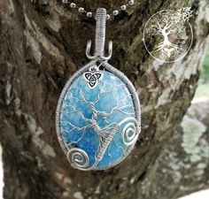 Tree of Life Pendant covering Beautiful Light Blue Dragon Vein Agate with Silver Triquetra Charm by TheSleepyFirefly