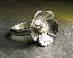 Anillo de plata y latón flor joyas de la naturaleza
