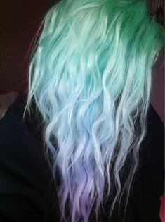 pastel green blue purple hair