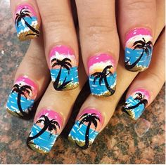 Trendy Palm Tree Nail Arts Design for Summer