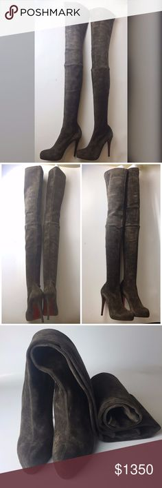 """Louboutin Monica Suede Thigh-High Boot Euro 37 Great condition! Worn handful of times. Minor signs of wear on the bottoms. Insignificant signs of wear (fuss) on suede here and there.  ORIGINAL PRICE WAS ABOUT $2500!  Come with original dust bag only. No receipt is kept.   Heel is 4.33"""" Total length from floor to top of boot is 33.86"""" Platform is 0.8""""  Please note, that European designer shoes typically run smaller then US designers. You should know your size in the particular designer's…"""