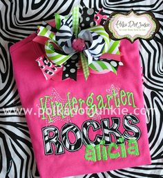 Personalized Kindergarten Embroidered School Shirt and Hairbow