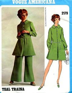 FREE US SHIP Vogue 2179 Vintage Retro 1960s 60s Designer Teal Traina Tunic Dress…