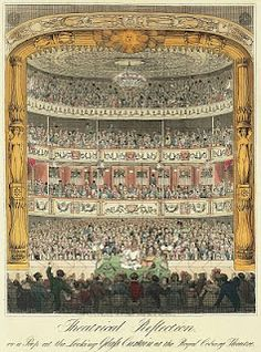 "1822 ""Theatrical Reflection or a peep at the Looking Glass Curtain at the Royal Coburg Theatre."" hand-colored etching of London's Old Vic. Ramo Samee juggling on stage. Theater, Toy Theatre, Vintage Circus Posters, Waterloo Road, Glass Curtain, Engraving Illustration, Vintage Ephemera, Hand Coloring, Line Art"