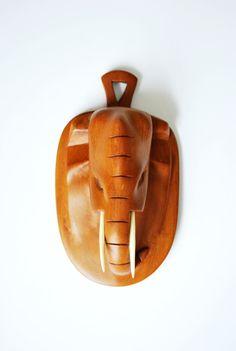 Mid Century Wood Elephant Carved Teak by GoodSoulVintageMI on Etsy