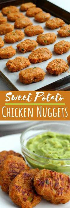 These delicious Sweet Potato Chicken Nuggets are baked to perfection and are Whole 30 & Paleo friendly. Perfect for a healthy kid-friendly weeknight dinner. via # Healthy Recipes for kids Sweet Potato Chicken Nuggets (Whole Paleo) Healthy Recipes For Diabetics, Healthy Meals For One, Healthy Chicken Recipes, Healthy Dessert Recipes, Baby Food Recipes, Easy Meals, Dinner Healthy, Chicken Recipes For Babies, Healthy Snack Recipes For Weightloss