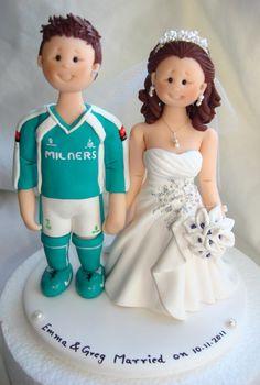 Personalised Bride Groom Football Sports Theme Wedding Cake Topper