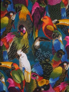 This Listing is for One Yard of Pure Cotton Fabric 45 Wide. Exotic birds...packed into this tropical paradise! All varieties....all colorful. Repeat 23. White bird 10. What a great print for any project--we love it! We cut directly from the bolt to order