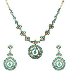 Blue Zircon Gold Austrian Crystals Necklace Set Bridal Jewelry Wedding Earrings #Handmade