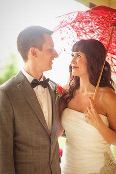#vintage #red #wedding #lace #bride&groom #parasol. By @Nicole Sarah Wedding Photography .   © 2013 www.nicolesarah.com