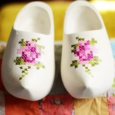 I need to do this to my clogs from Amsterdam! Cross Stitch Painted Clogs!
