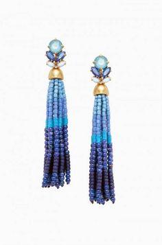 Blue Beaded Tassel Statement Earrings   Stella & Dot