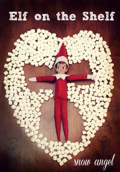 Elf on the Shelf ideas - Snow angel with marshmallows - Queen Bee Coupons & Savings