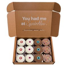 3 red velvet, 3 vanilla, 3 dark chocolate, 3 sprinkle Sprinkle Cupcakes, Yummy Cupcakes, Cupcake Boxes, Cupcake Cookies, Chocolate Box, Chocolate Brownies, Delivery Menu, Gifts Delivered, Shipping Boxes