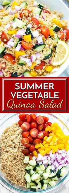 Summer Vegetable Quinoa Salad is full of nutritious veggies and then topped with a homemade lemon vinaigrette. It is the perfect, healthy dish to bring for potlucks or summer picnics!
