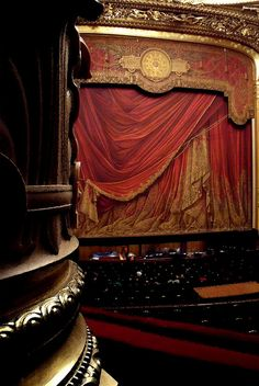 Stage view from Balcony - Opera Garnier de Paris. I would love to visit, but I don't think I could stop myself from making unnecessary Phantom of the Opera references.