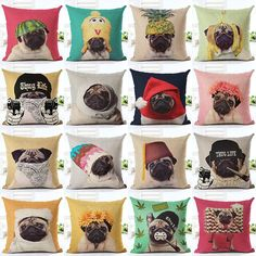 Pug Design Animal Pillow Covers The adorable pug designs will accent any room and provide laughter for all. Offering many variety of designs choosing which one to get will be a difficult task. Materia