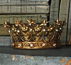 antique french brass crown