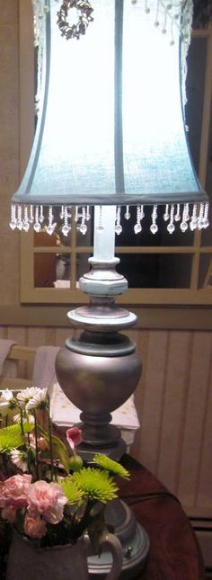 Chalk Paint® decorative paint by Annie Sloan used for the accents of this old brass lamp | By Toni Stamborski of Toni's Creations