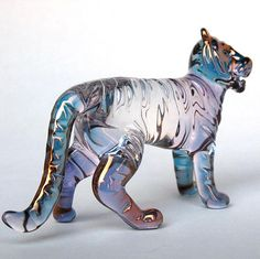 Tiger Figurine Hand Blown Glass Gold Crystal by ProchaskaGallery