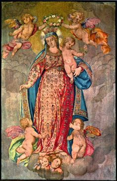 allaboutmary:  The centre image of the standard of the congregation of Our Lady of the Rosary in Milan, Italy.    The delicate piece on silk dates from the 16th century and is kept in the city's famous cathedral.