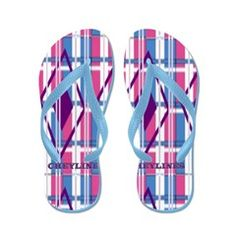 Pink and Blue Plaid Flip Flops.  To see these Flip Flop Sandals and many more to choose from, follow this link;  http://www.cafepress.com/cheylines/10123909