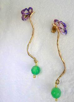 Handmade earrings purple butterflies green semi by violettstyle, €17.38
