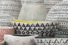 KAS is a Budapest based atelier made by Kata Bartis. Her work is an experiment in the aesthetic fields of nature, ancient art and folk art. KAS (skep/beehive) is about home, handcraft and primal forms. Ancient Art, Vibrant Colors, Behance, Pottery, Ceramics, Geometric Patterns, Simple, Handmade, Diy
