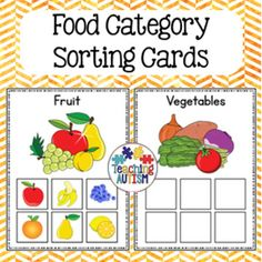 This resource contains 6 different food categories for students to match the appropriate food images into.The categories included are: Fruit Vegetables  Dairy Meat Grains DrinksIf you have any recommendations for any additional sorting pages you would like added please don't hesitate to contact me.There are 6 food items to match for each card.
