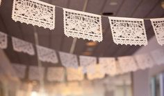 """I love paper art and nothing screams """"PAPER"""" like traditional Mexican papel picado banners and artwork. How I missed the opportunity to use these for weddings in the past 15 years is a mystery. The lovely papel picado designs Wedding Themes, Wedding Blog, Our Wedding, Wedding Decorations, Wedding Ideas, Themed Weddings, Dream Wedding, Lilac Wedding, Fantasy Wedding"""
