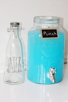 Baby Boy Blue Punch:  Sprite + 1 package of Kool Aid (berry blue or ice blue raspberry lemonade) Add UV Blue Raspberry Vodka for a spiked punch or Smirnoff Blueberry. For less sugar also add a club soda.