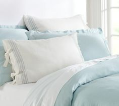 French Stripe Linen Duvet Cover & Sham - Blue | Pottery Barn