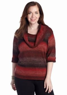 Ruby Rd  Plus Size Ombre Cowl Neck Sweater