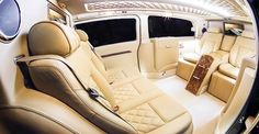 5 seat luxurious mobile office in Light Tan leather