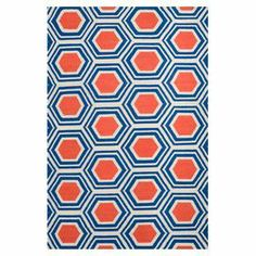 Would look so cute with dark hard wood floors and furniture.- Flatweave rug with a honeycomb-inspired motif. Handmade in India.