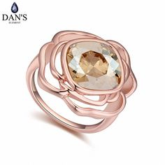 DAN'S Element White Gold Color Real Austrian Crystals Romantic Flower Fashion Ring for women Valentine Gift 112953Gold #Affiliate