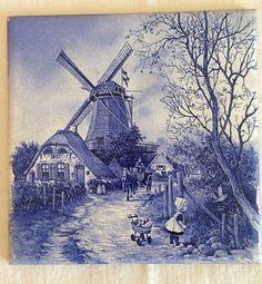 """Delft Vintage Tile Gorgeous Holland Farm Windmill 6 x 6"""" Blue"""