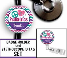 Peace Love Pediatrics Personalized Stethoscope by BlingBadgesEtc