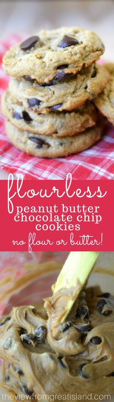 Flourless Peanut Butter Chocolate Chip Cookies ~ these amazing gluten free cookies are made without any flour, or any butter, and they hold their own against any chocolate chip cookie out there! #glutenfree #glutenfreecookies #flourlesscookies #chocolate #healthycookies #healthy #proteinsnack #healthysnack #backtoschool