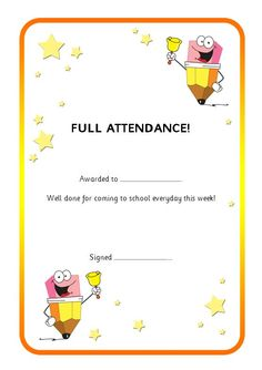 Editable certificate to reward good attendance. #teachingresources Attendance Incentives, Perfect Attendance Certificate, Elementary School Office, Elementary Schools, Certificate Format, Certificate Templates, Certificate Of Completion, Emotional Development