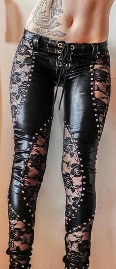Club Style Rocker Chick - Lace Up Leather Pants