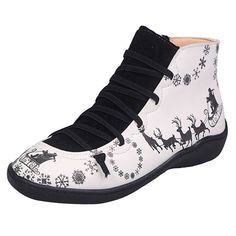 Rubber Women's Animal Print Lace-up Red Green Gray Black Fall Winter Outdoor PU PU Low Heel Under 1 inch Sneakers Round Toe 35 36 37 38 39 40 41 42 43 Shoes Chunky Heel Pumps, Low Heel Boots, Low Heels, Wedge Heels, Pumps Heels, Heeled Boots, Sneaker Heels, Sneakers, T Strap Flats